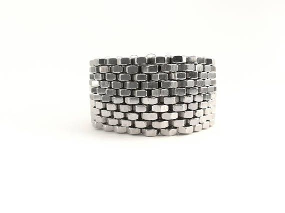 Hex nut bracelet Statement bracelet Peyote stitch jewelry Silver tone hex nut Peyote stitch style bracelet Industrial jewelry HEXNUTSMADE