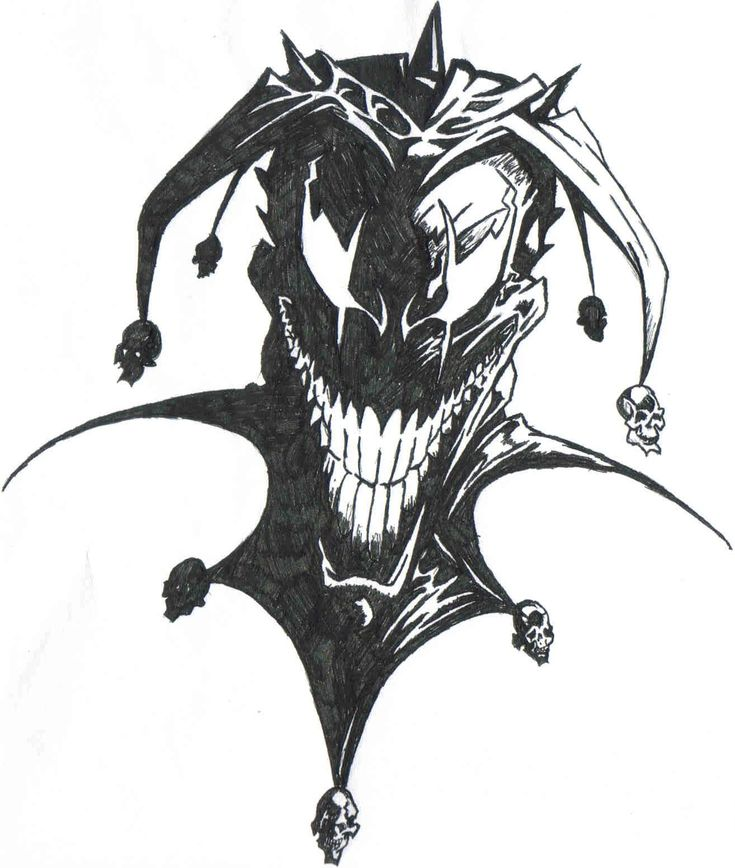 Dark Ink Jester Tattoo Design