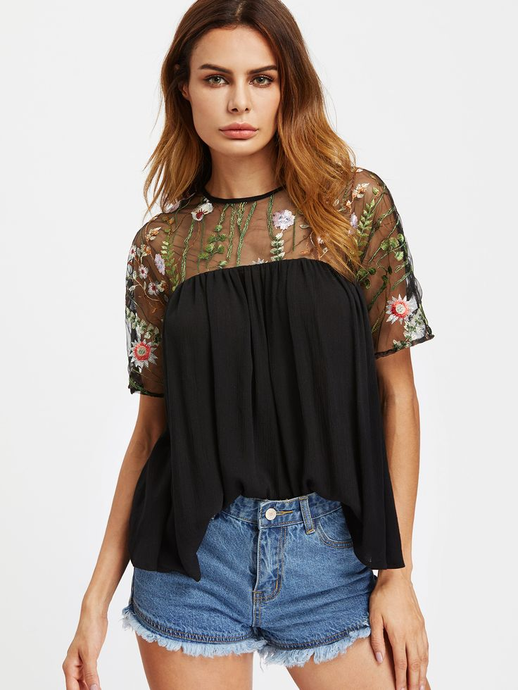 Shop Embroidered Mesh Shoulder Buttoned Keyhole Back Smock Top online. SheIn offers Embroidered Mesh Shoulder Buttoned Keyhole Back Smock Top & more to fit your fashionable needs.