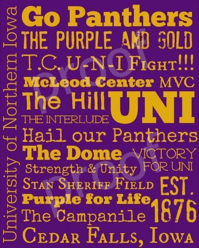University of Northern Iowa Subway Art Print by TheFreckledCrayon