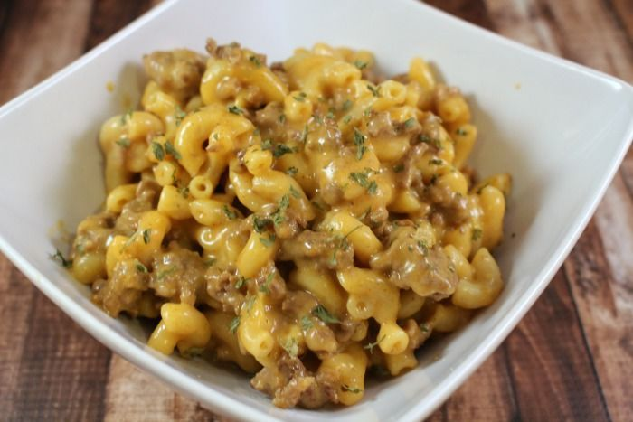 Cheeseburger macaroni (substitute quorn for beef)