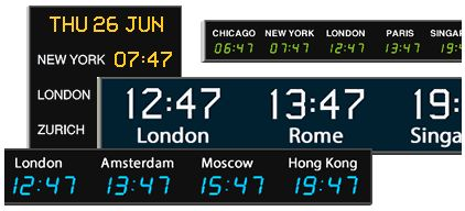 Wharton international time zone wall clocks with up to 15 zones