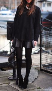 Black sweater, shinny blouse, skinnies and high heels for fall
