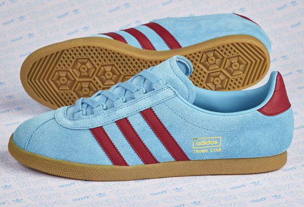 adidas claret and blue gazelle trainers