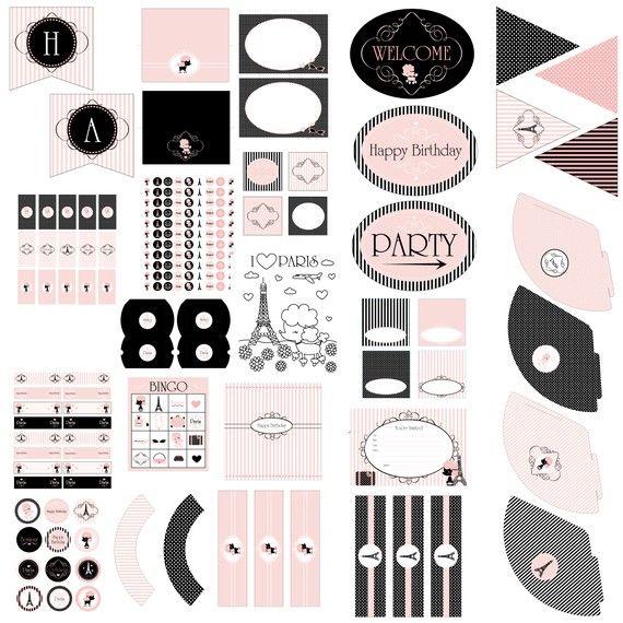 Paris Pink Poodle Printable Birthday Party by stockberrystudio, $10.00