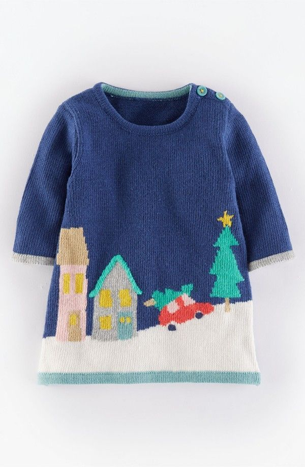 Mini Boden 'Winter Scene' Knit Dress (Baby Girls) | Nordstrom