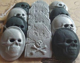 12 commestibili di zucchero Halloween decorazioni teschi tombe cupcake toppers torta