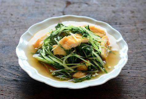 水菜と油揚げの煮びたし ©白ごはん.com