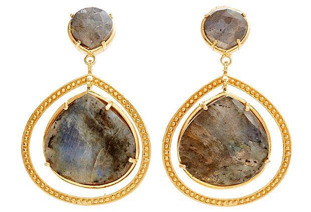 Post Labradorite w/Large Stone Earrings on OneKingsLane.com