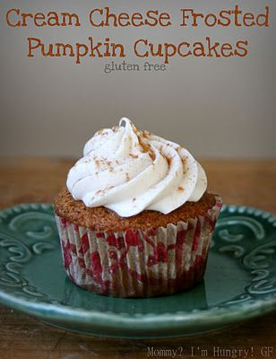 Gluten Free Pumpkin Cupcakes. I will sub stevia & almond flour to make it sugar free & carb free.: Pumpkin Cupcakes, Recipe Blog, Gluten Free, Mih Recipe, Cheese Frosted, Glutenfree, Cream Cheeses