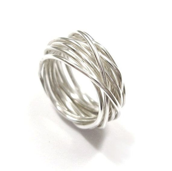 Handmade Polished Silver Wire Nest Ring. Made in any size! on Etsy, $75.34