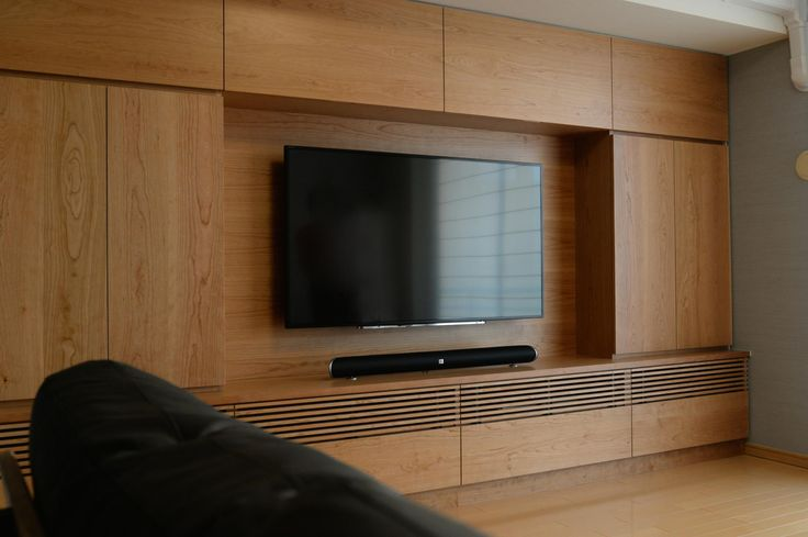 チェリー材のテレビボード(壁面収納)