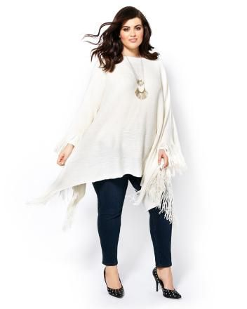 MELISSA McCARTHY Long Sleeve Poncho Sweater