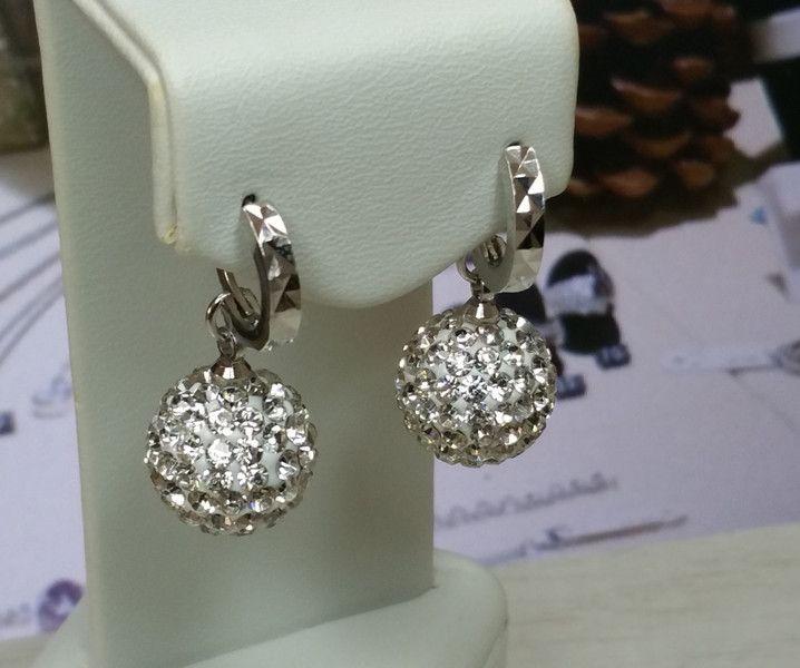 Vintage Ohrhänger - Ohrringe Ohrhänger Silber 925 Kristall Kugel CO100 - ein Designerstück von Atelier-Regina bei DaWanda