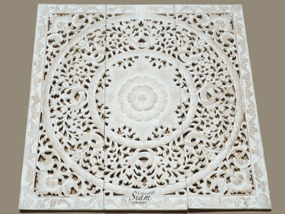 White Washed Carved Wood Wall Art Panel. Floral Wall Hanging Decorative.  Unique Oriental Home Decor From Thailand (3u0027X3u0027 Ft. White Washed)