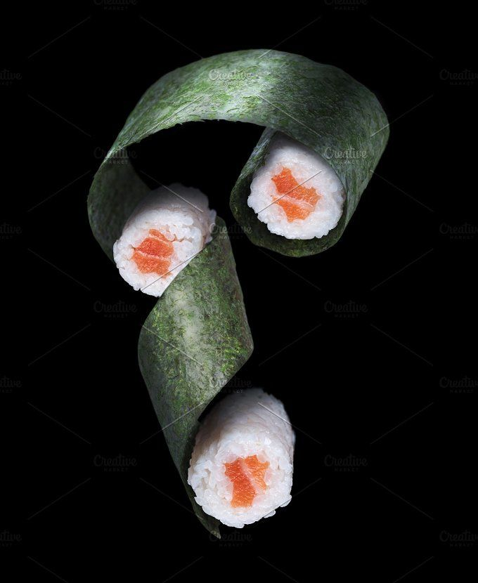 Flying sushi with salmon by Vladimir Popovich on @creativemarket