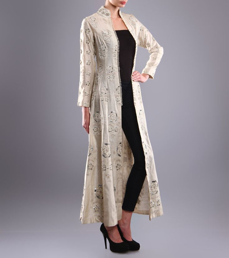 Ivory Embroidered #ChanderiJacket https://www.facebook.com/nikhaarfashions