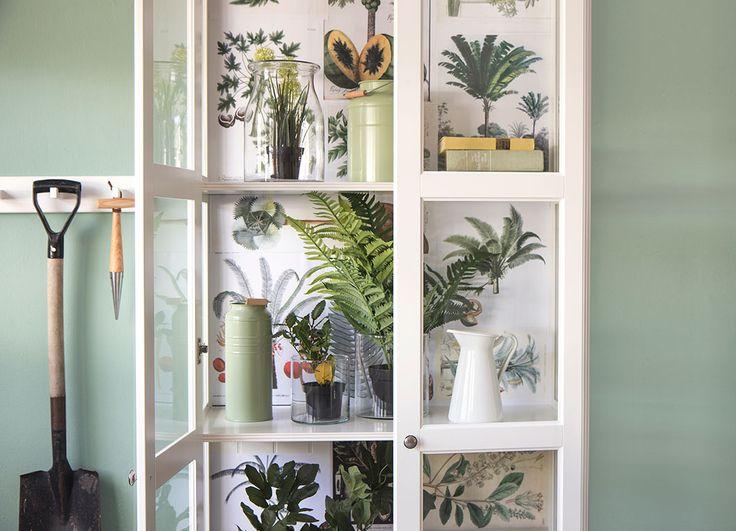 Een vitrinekast is een mooie verzamelplek voor verschillende takken en planten. Style de binnenkant van de kast af met vintage posters en tekeningen van bloemen en planten. | IKEA IKEAnl IKEAnederland HowTo HowToStyle DIY Planten Nepplanten Fake Nep Groen Natuurlijk Natuurlijk Organisch Duurzaam UrbanJungle Jungle
