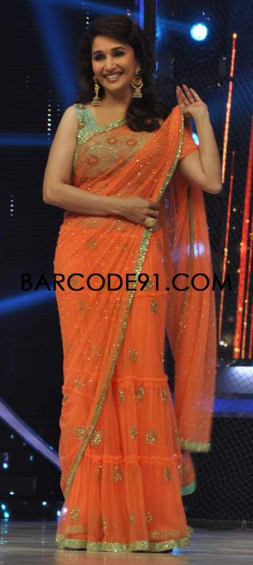 http://www.barcode91.com/ Madhuri Dixit groove in orange peppermint diva saree on the set of Jhalak Dikhla Jaa