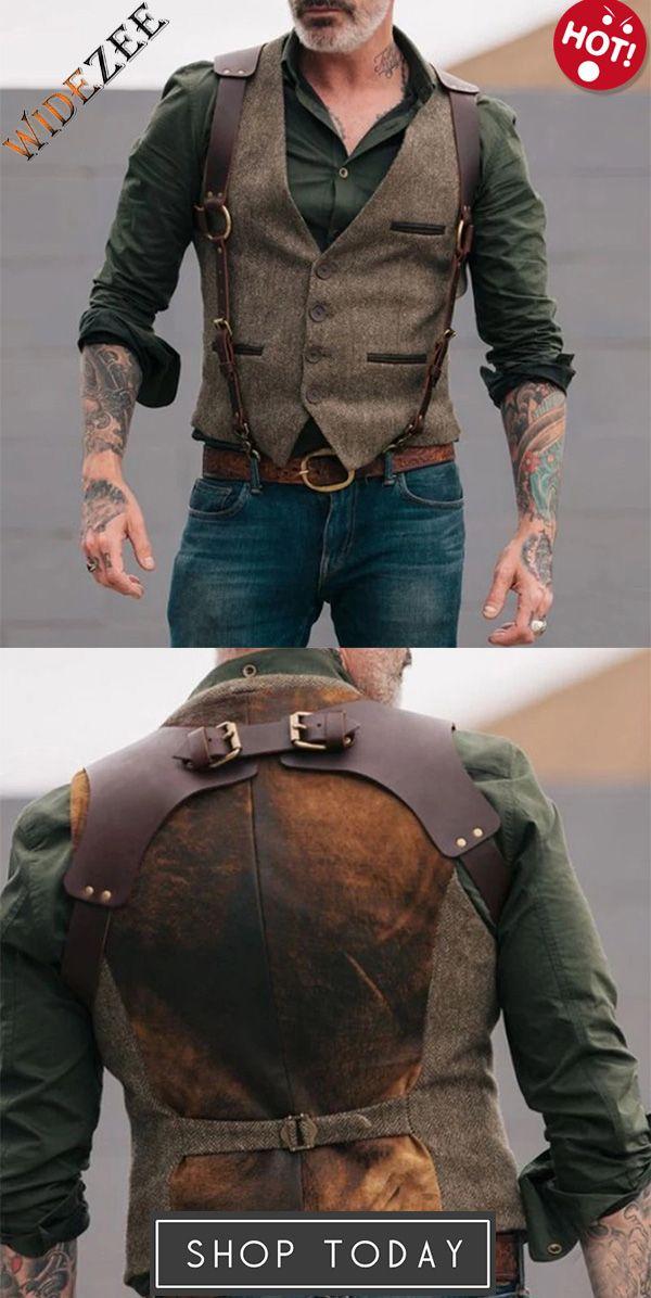 Fashion Solid Color Open Bag Men's Vest