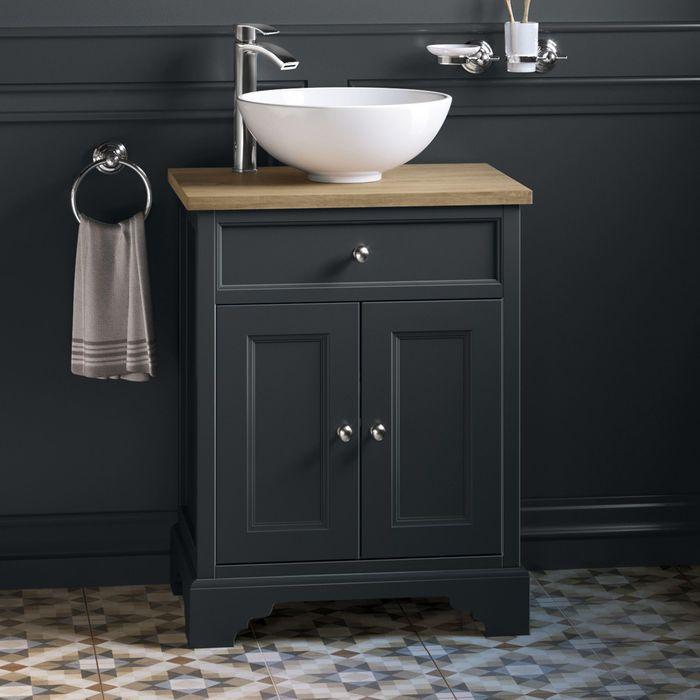 600mm Loxley Charcoal Countertop Unit Puro Basin Floor Standing Soak Com Bathroom Vanity Units Grey Bathroom Vanity Bathroom Basin Units