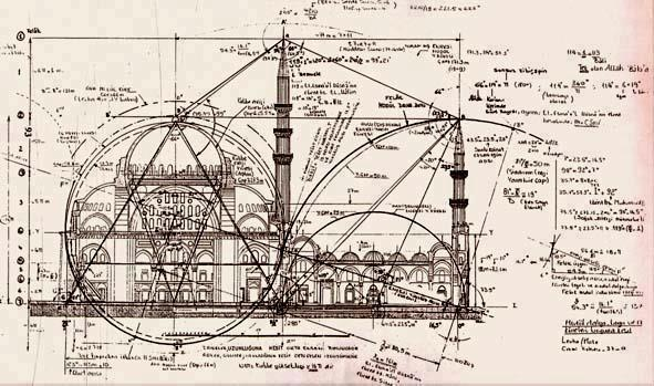A structural map of a mosque that is said to belong to the great architecture of Ottoman Empire, Mimar Sinan.