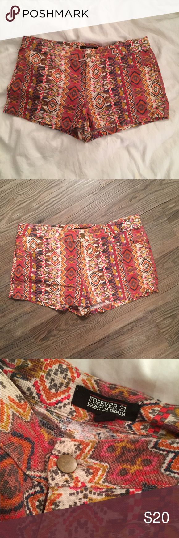 Forever 21 Premium Denim Aztec Shorts These are so cool!! They have only been worn three times. I wore them with a cool tie top and booties! These little things really make a statement and can be dressed up or down! They do not have back pockets. 💘 Forever 21 Shorts