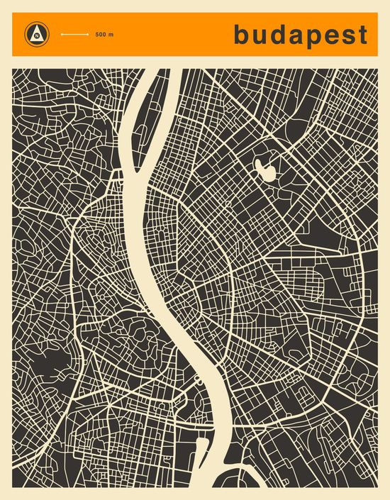 Poster | BUDAPEST MAP von Jazzberry Blue | more posters at http://moreposter.de