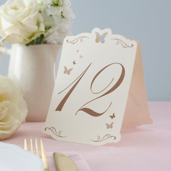 Tischnummern mit Schmetterlingen in Creme