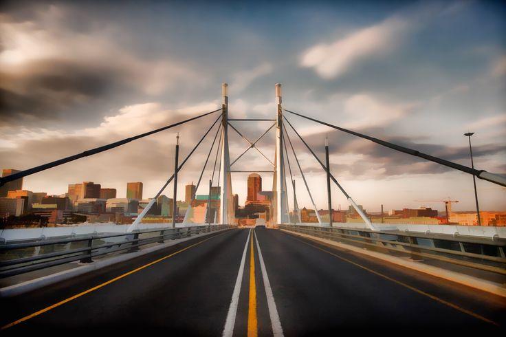 A beautiful symmetrical shot from Nelson Mandela Bridge, South Africa.