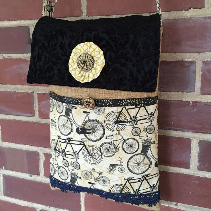 Cross Body Bag Bicycles Raw Silk Cut Velvet Vintage Biicycles Bikes Handcrafted Black Cream Gold