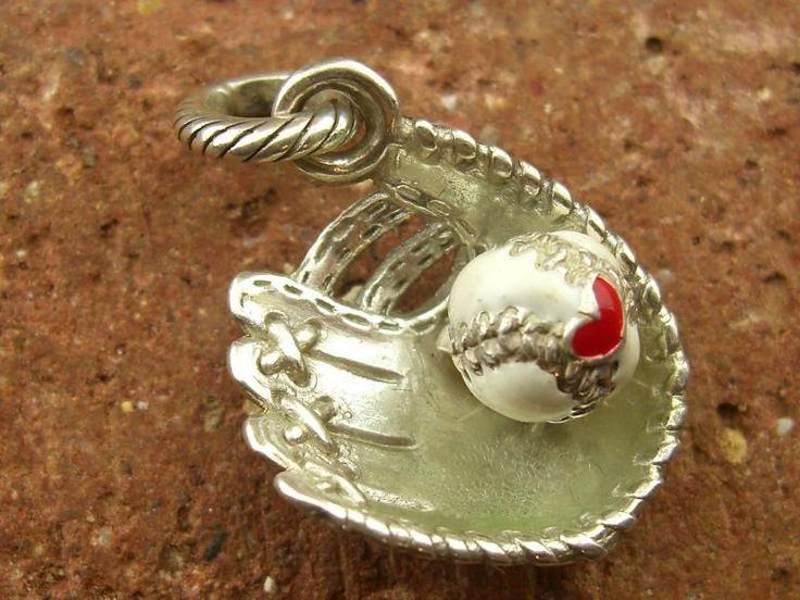 Vintage Enamel Baseball Glove Mitt Ball Sterling 925 Charm Pendant (6.7g)