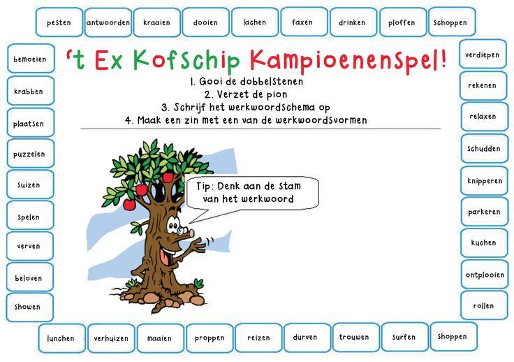 't Ex Kofschip Kampioenenspel! Leuk om aan te leren hoe leerlingen werkwoorden in de t.t. en v.t moeten schrijven.