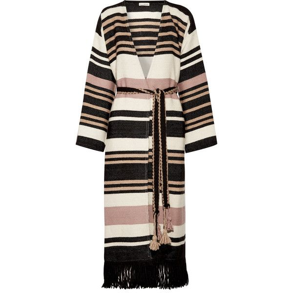 Ulla Johnson Areli fringed striped alpaca coat ($850) ❤ liked on Polyvore featuring outerwear, coats, cream, fringe coat, multi coloured coat, alpaca coat, maxi coats and alpaca wool coats