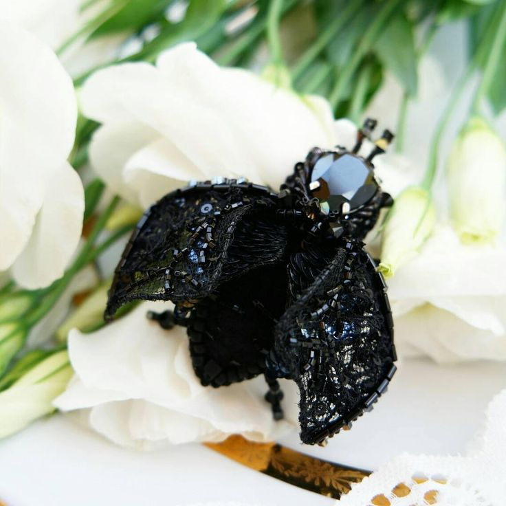 Black Beetle Brooch - Beaded Brooch - Beetle Pin - Bug Jewelry - Black Brooch - Bonbonniere - Beaded Embroidered - Gift For Her by leBARMjewel on Etsy