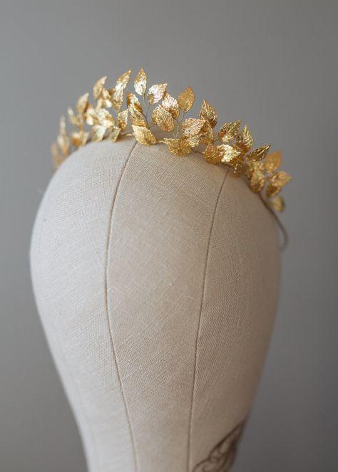 Greek Goddess Leaf Crown, Wedding Leaf Headband, Woodland, Leaf Branch, Wedding Tiara, Queen Wedding Headpiece, Gold Leaf Tiara-EFTHALIA