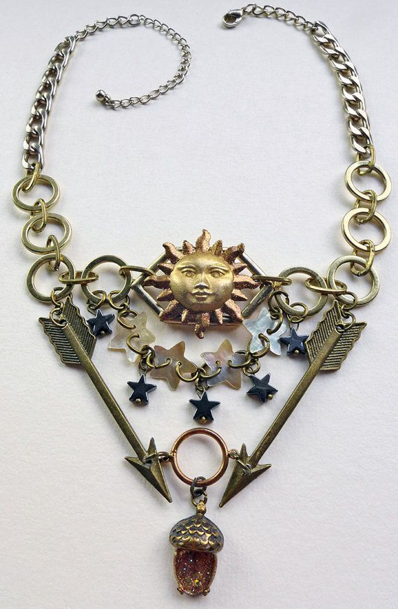 Sun and Stars Necklace with Arrows and Acorns symbolic by Skullbag