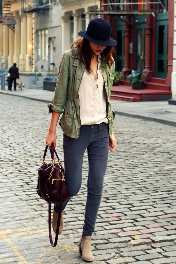 An army green anorak and dark grey skinny jeans are perfect for both running errands and a night out. Nude suede booties will add a touch of polish to an otherwise low-key look. Shop this look for $221: http://lookastic.com/women/looks/hat-anorak-button-down-blouse-skinny-jeans-tote-bag-ankle-boots/4335 — Navy Wool Hat — Olive Anorak — Beige Button Down Blouse — Charcoal Skinny Jeans — Burgundy Leather Tote Bag — Beige Suede Ankle Boots