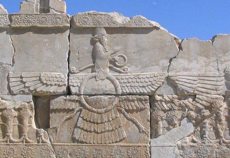 Faravahar, the visual aspect of Ahuramazda. Relief from Persepolis. Photo Marco Prins.