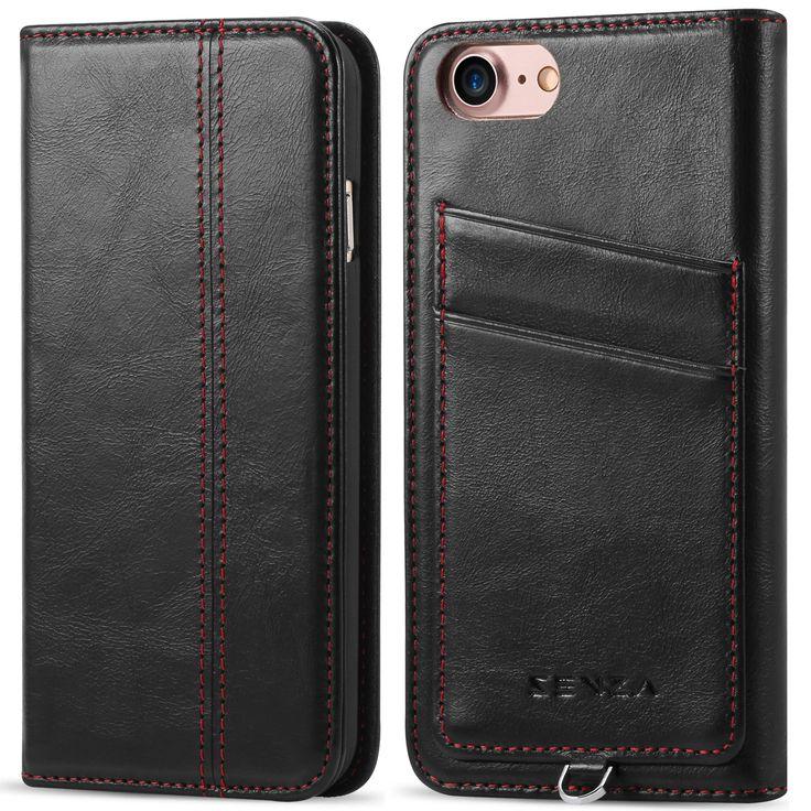 CaseFamily iPhone 7 レザーケース アップル携帯ケース (硬度 9H 液晶保護 強化 ガラスフィルム) 高級牛革 手帳型ケース マグネット式 収納ホルダー アイフォン 7 4.7インチ 【ブラック】