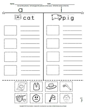 FREE CVC Cut and Paste Picture Sorting--Short A and Short I Compared #phonics #worksheet