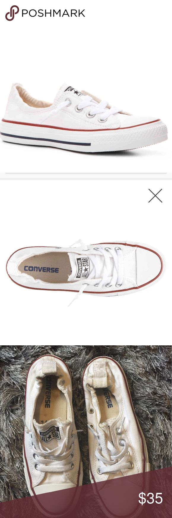 White Converse White chuck Taylor converse, like new condition, only have been worn a handful of times, very clean, the only place able to see wear is the heel inside where it's a bit dirty but can he taken out and cleaned, size 6, this is the authentic brand Converse Shoes Athletic Shoes