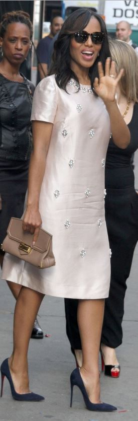 Who made Kerry Washington's nude clutch handbag, blue suede pumps, jewelry, and beaded pink short sleeve dress that she wore in New York?