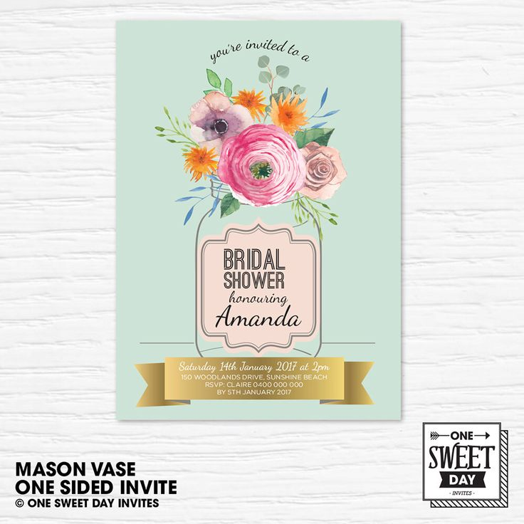 A personal favourite from my Etsy shop https://www.etsy.com/au/listing/490483045/bridal-shower-printable-invitation-mason