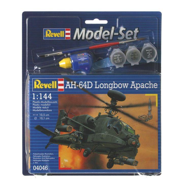 Revell Model Set - AH-64D Longbow Apache Complete modelbouwset voor een Apache gevechtshelikopter, bestaande uit 79 onderdelen, inclusief penselen, verf en lijm. Schaal 1:144. Moeilijkheidsgraad 3 sterren. Afmeting: lengte vliegtuig 10,5 cm, spanwijdte 8,5 cm - Revell Model Set - AH-64D Longbow Apache