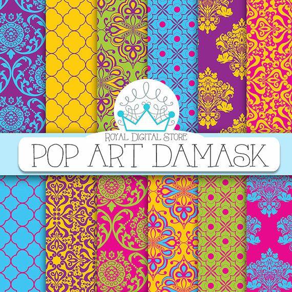 """Damask digital paper: """" Pop Art Damask"""" with damask background, instant download, scrapbook paper, background digital paper for cards"""