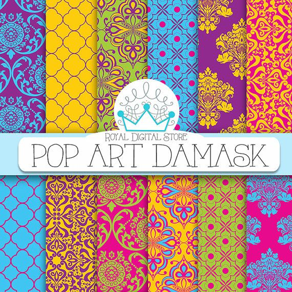 "Damask digital paper: "" Pop Art Damask"" with damask background, instant download, scrapbook paper, background digital paper for cards #colorful #damask #pink #yellow #digitalpaper #scrapbookpaper"