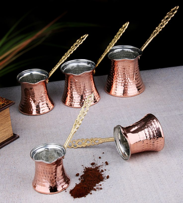 Set of Five Traditional Copper Turkish Coffee Pots / Cezves