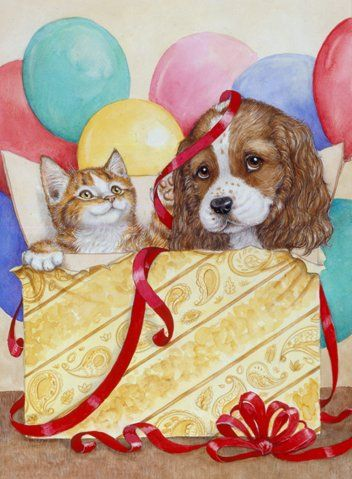 kitten and puppy in gift box - Debbie Cook