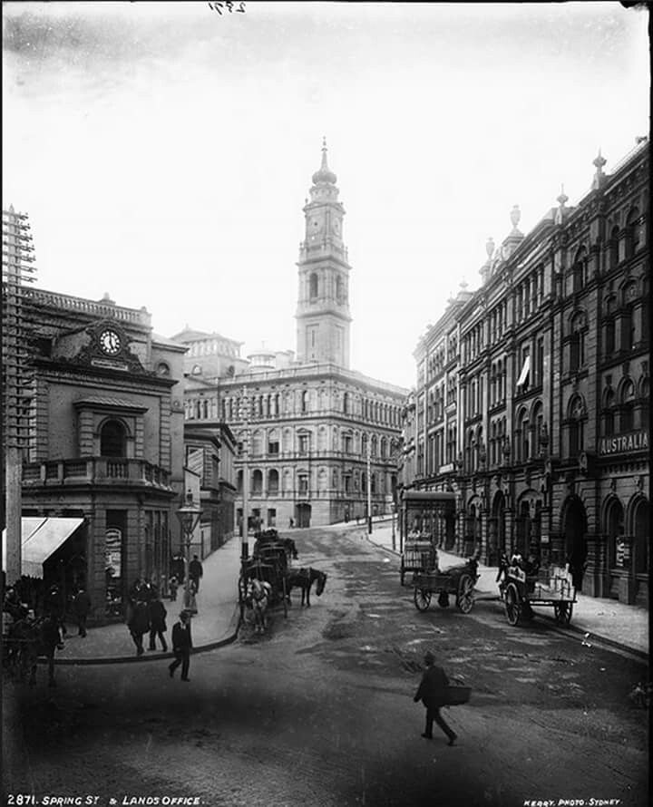 Looking up Spring St from Pitt St,Sydney towards the NSW Department of Lands building in 1894.Photo from Powerhouse Museum.A♥W